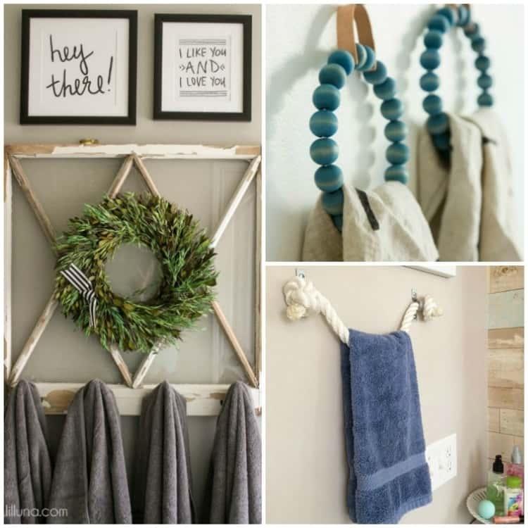 Towel holders; collage of vintage window, beaded rings, rope bar