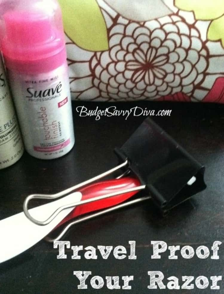 travel proof your razor using a file binder clip