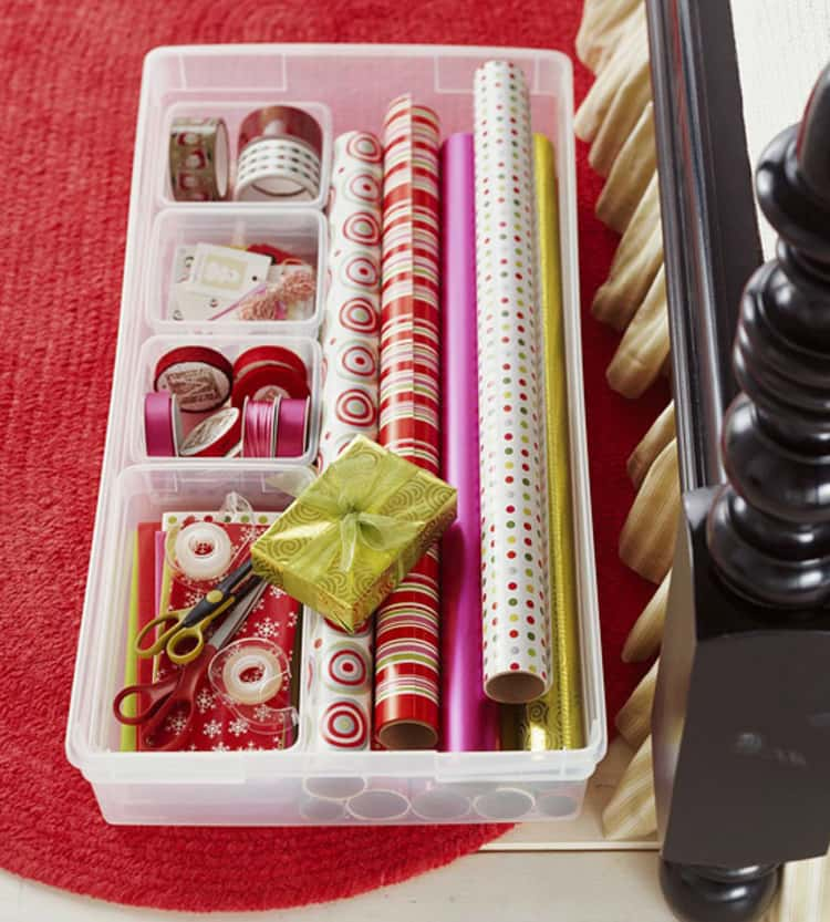 rectangular under the bed storage box for storing rolls of wrapping paper, ribbons, tape, scissors and other small items