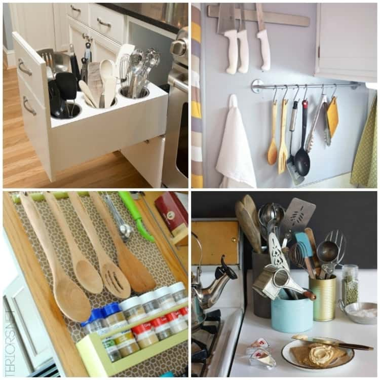 collage of utensil organization ideas, such as in a drawer, hanging from towel rod, hanging above spices, or painted cans