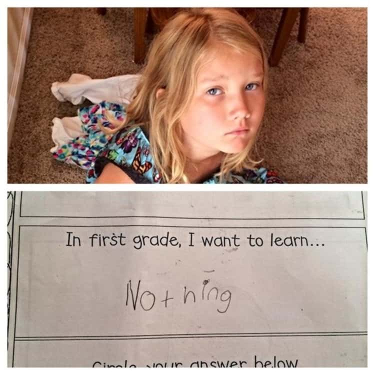 back to school photo ideas - photo collage of girl with her paper that says she wants to learn nothing in first grade