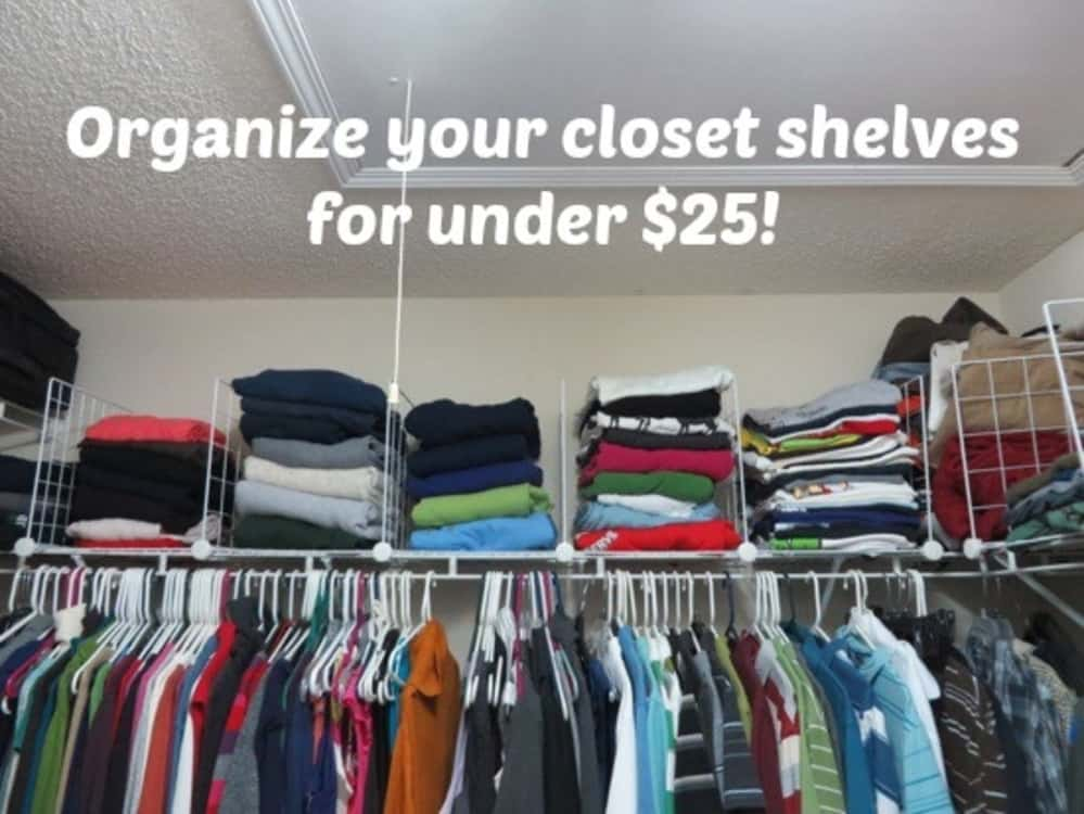 store and organize clothing into wire closet cubes on closet shelf