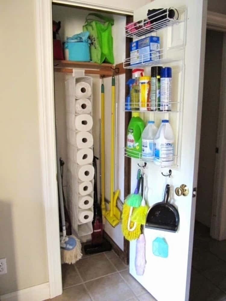 Mount wire shelves inside the utility closet door