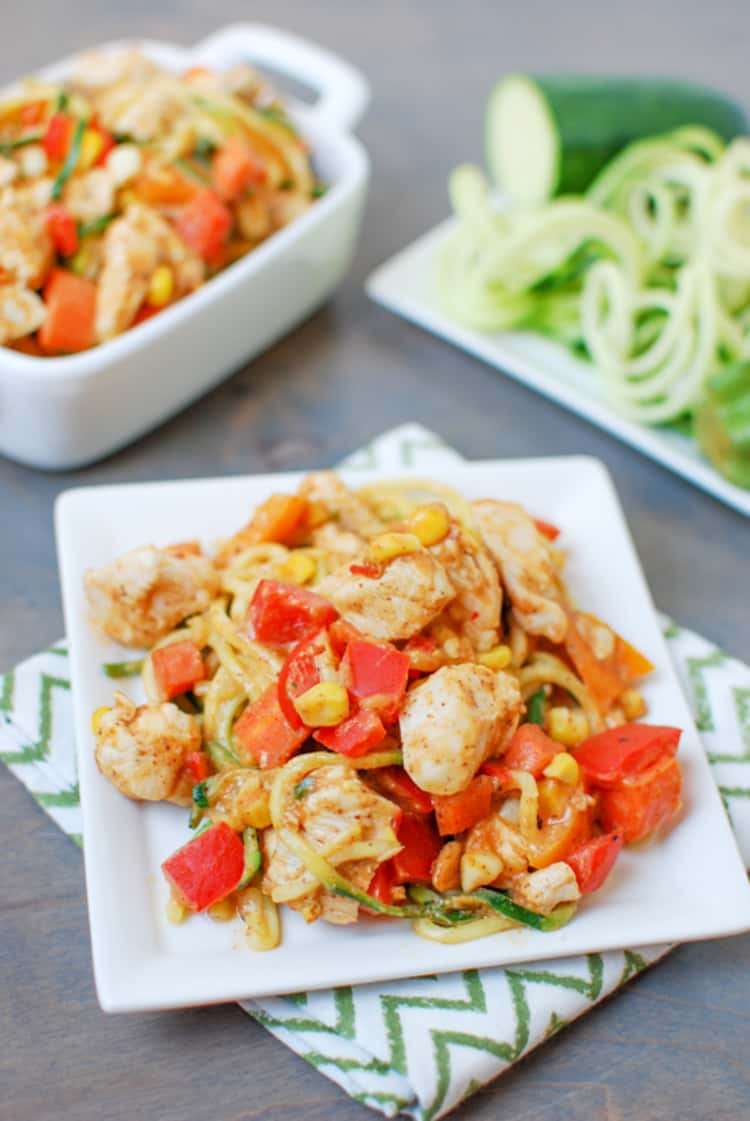 Zoodles with Spicy Almond Butter Sauce