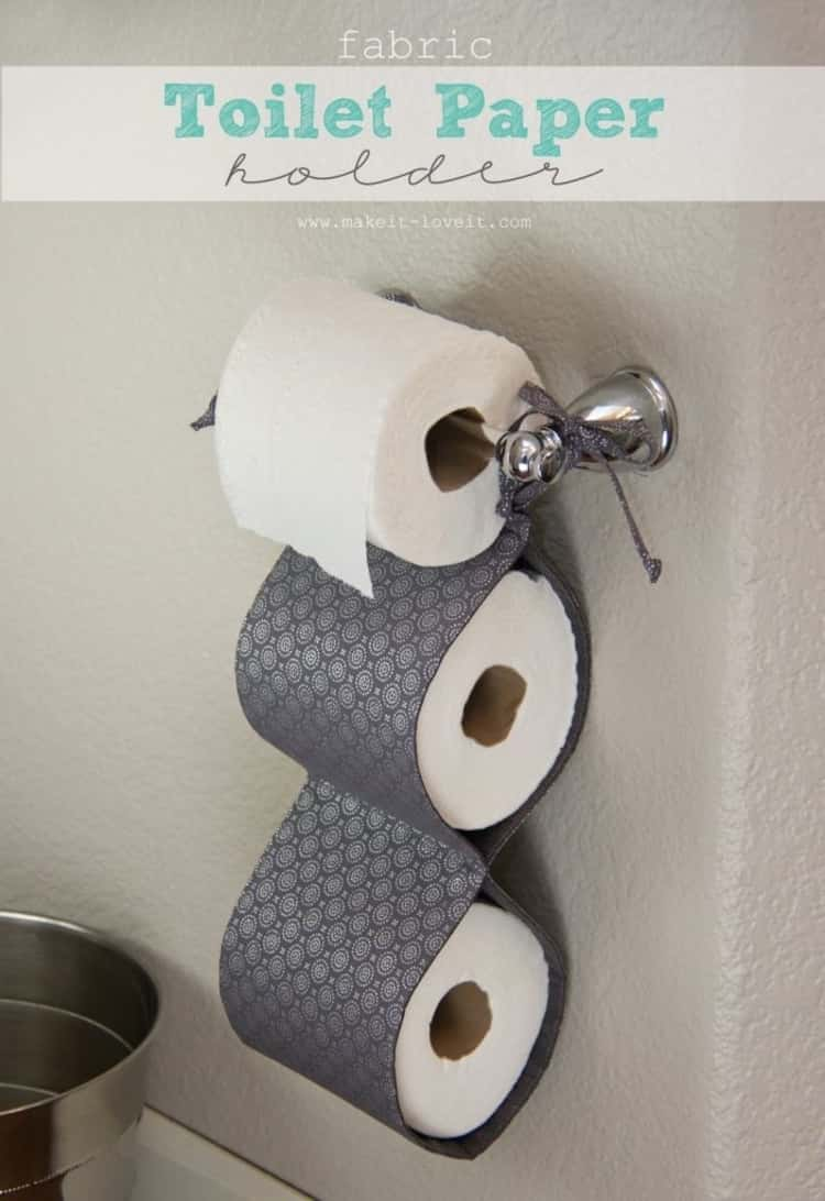 DIY customized toilet paper storage holder using fabric that you can make yourself