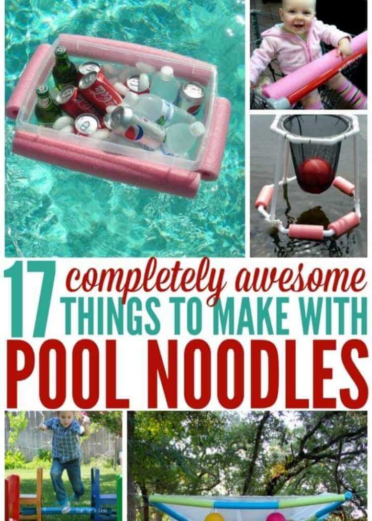 Genius uses for pool noodles- collage of pool noodles surrounding a clear plastic bin to create floating drink cooler, baby in a shopping cart with pool noodle covering handle, a pvc piping basketball hoop with cut noodles on base to make it a floating pool game, child jumping over a noodle, pool noodles strung together and holding a white netting material and hung as an overhead canopy for outdoor setting