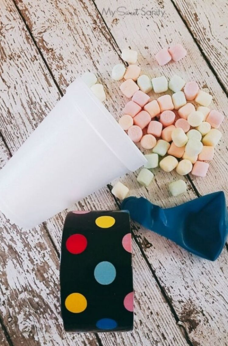 marshmallow with styrofoam cup and balloon