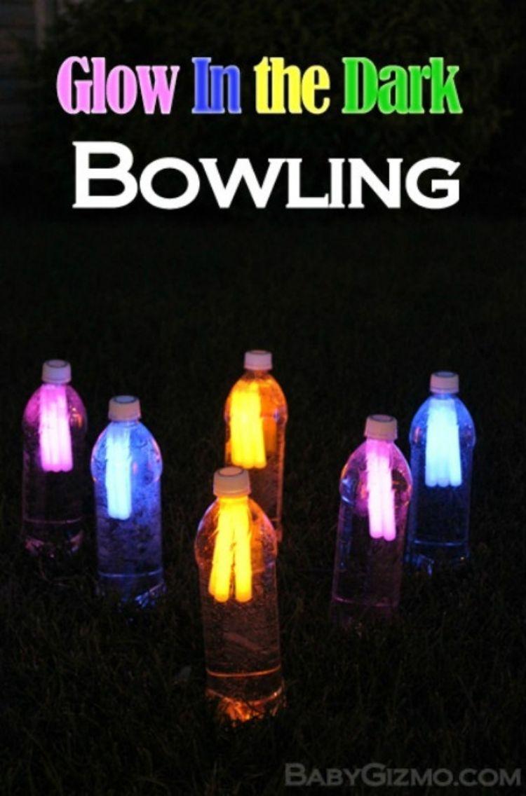 glow in the dark bowling - clear bottle with neorn light sticks