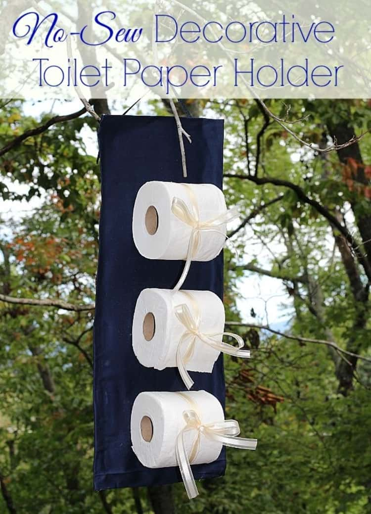 Decorative easy DIY no-sew project to keep toilet paper handy