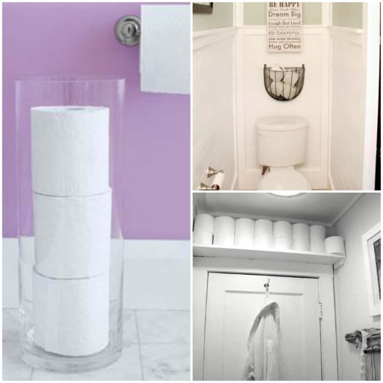 collage of clever toilet paper storage holders for the bathroom, using a hurricane vase for a clean and tidy look, mounting a wire basket above the toilet, install a shelf above the door