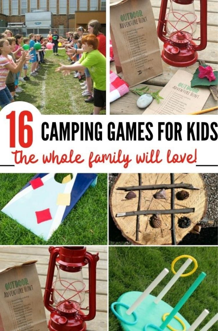 16 camping games for kids the whole family will love - collaeg of balloon passing activitiy red keronsene lamp with to do list beanbag game lo tic tac toe and hoop and ring game