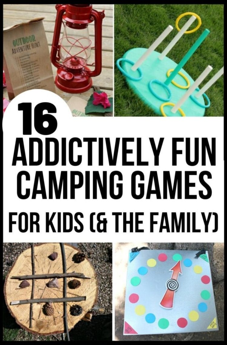 addictively fun camping games for the family - collage of kerosene lamp hoop ring game tic tac toe made of log and branches and acorn arrow pointing to colored circles