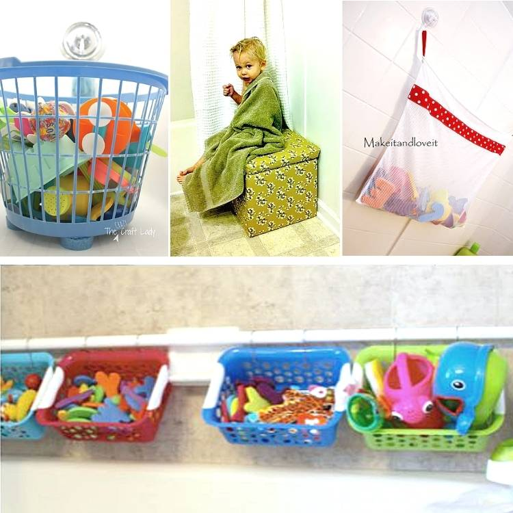 How to organize bath toys