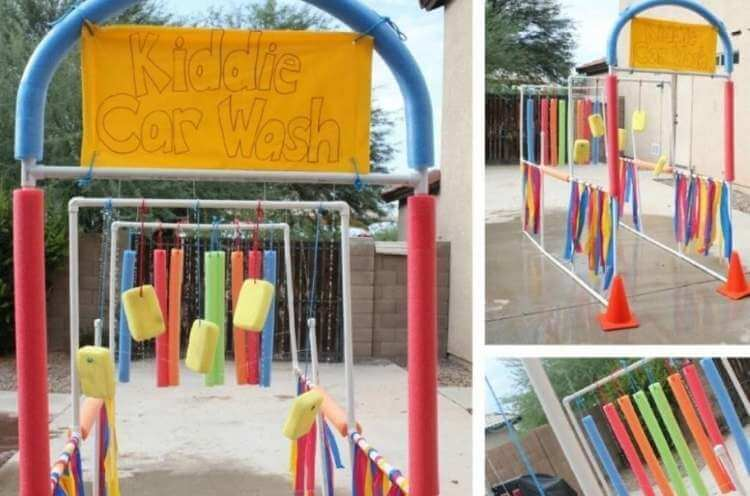 collage of kid car wash made from pool noodles
