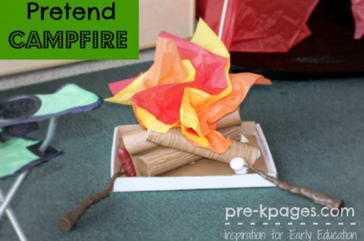 Fun uses for pool noodles- a playtime camp fire for make believe play made from pool noodles