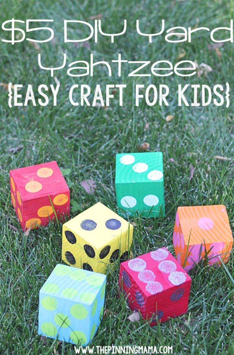 $5 diy yard yahtzee easy craft for kids - multicolored dice