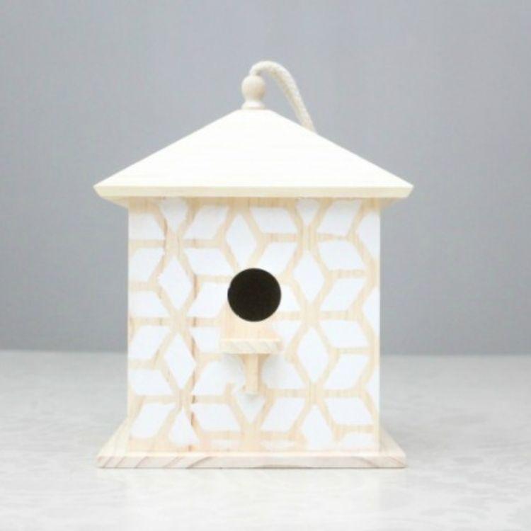 stenciled birdhouse