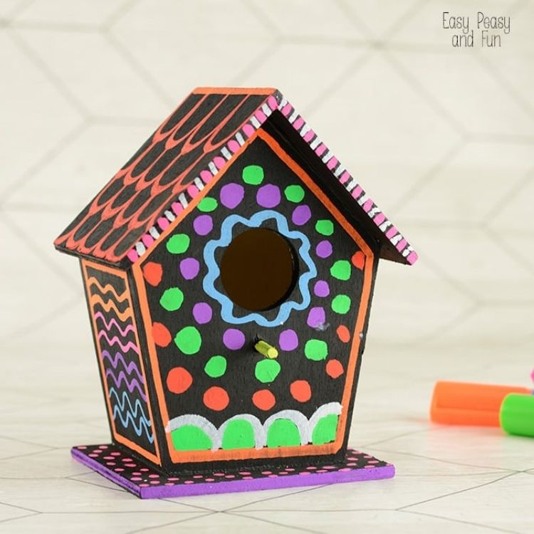 painted wooden birdhouse
