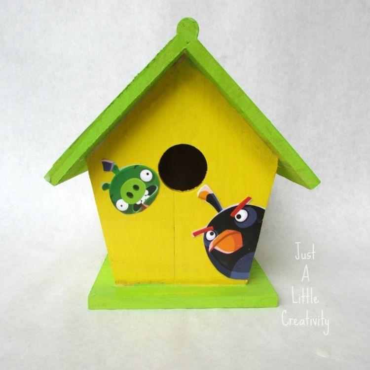 Angry Bird Painted Birdhouse