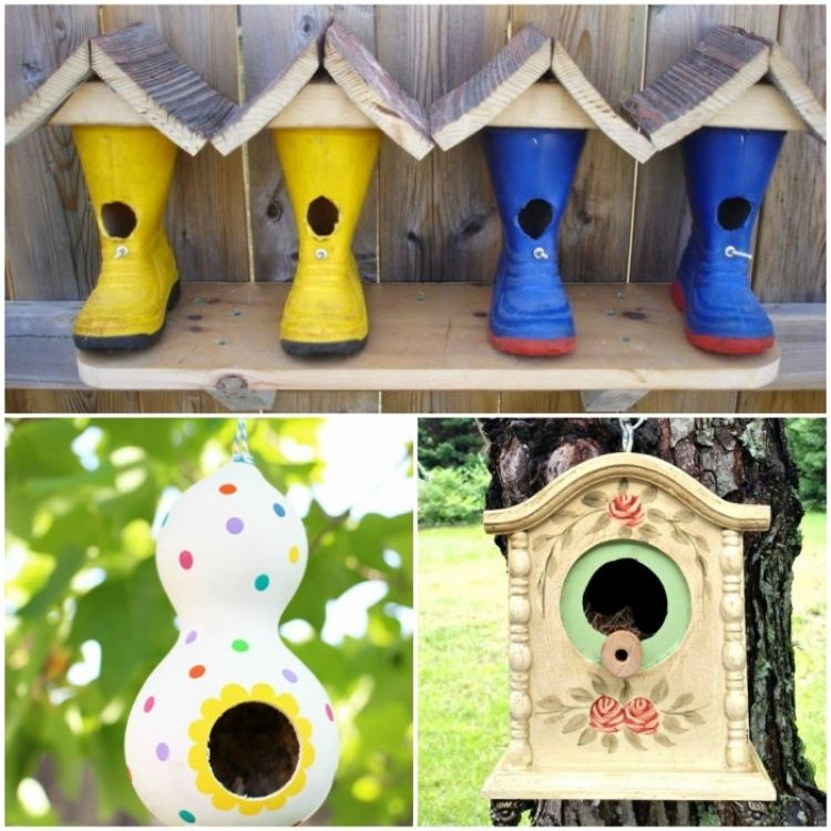 collage of 3 DIY birdhouses
