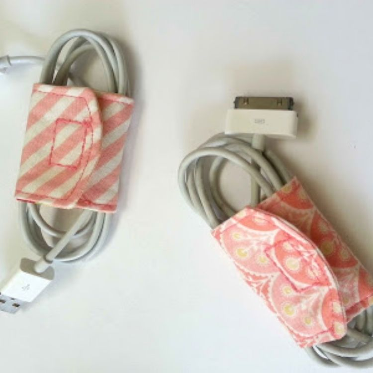 DIY cord organizers with fabric wraps