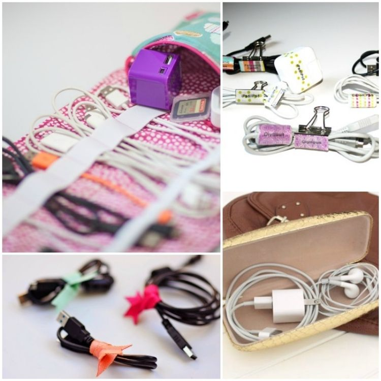 Collage of DIY cord organizers