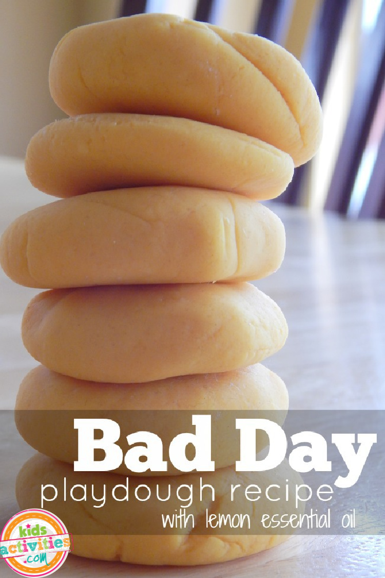 Bad Day Play Dough Recipe from Kids Activities Blog with Essential Oils
