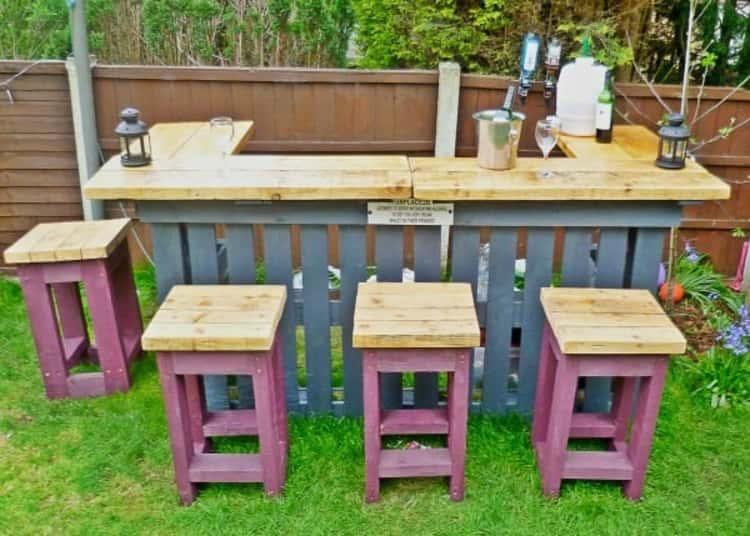 Bar setup made from pallets