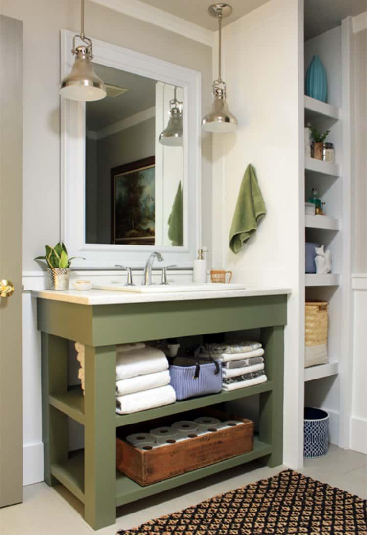 Bathroom vanity under sink open shelving storage