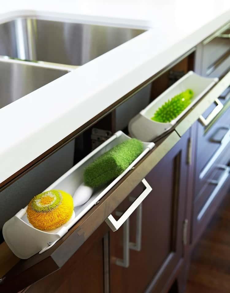 Cleaners storage drawer under sink