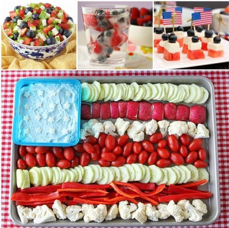 Collage of 4th of July food ideas - berry and jicama salad, berry ice cubes, watermelon mozzarella and blueberry appetizers, fruit salad shaped like an American flag