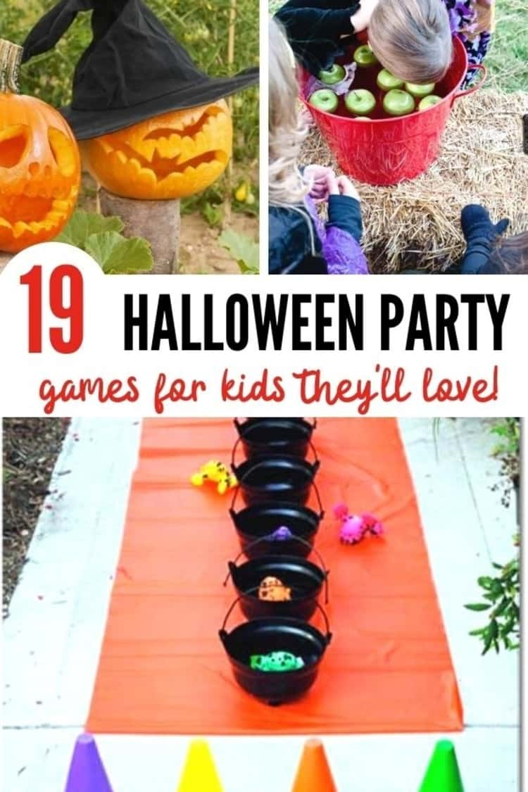 photo collage of 19 HALLOWEEN PARTY games for kids they'll love - set up for halloween game where children line up and compete to throw plastic frogs into a row cauldrons, 2 carved out pumpkins set out in the garden with flyer for 700+ Free pumpkin stencils, and one kid bobbing her head for apples in a bucket filled with water and some apples while 2 other kids are watching.