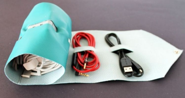rolled leaver pouch for storing cords