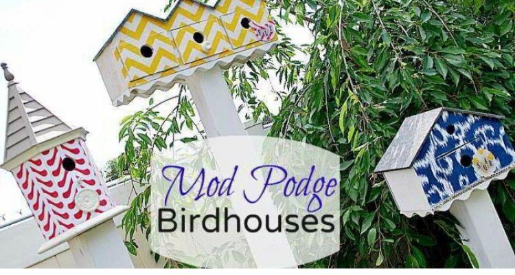 Modge podge fabric covered birdhouses
