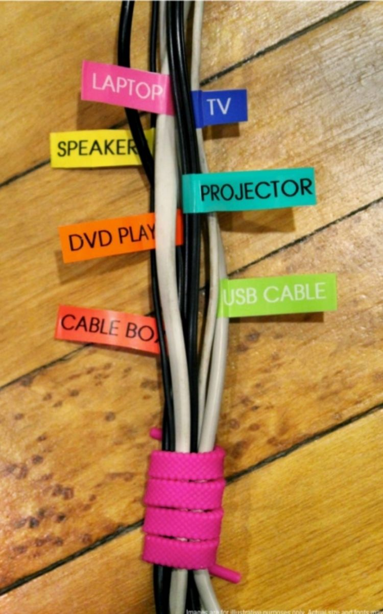 colored labels on cords tied in a bunch