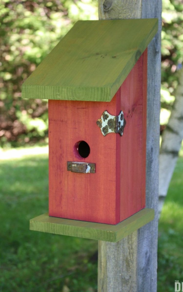 wooden post birdhouse