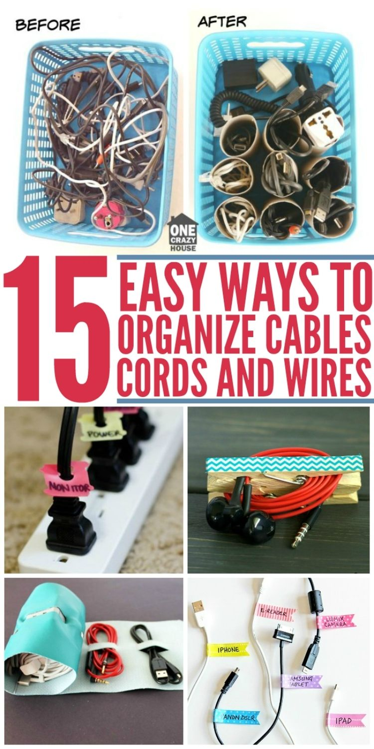Collage of photos of DIY cord organizers