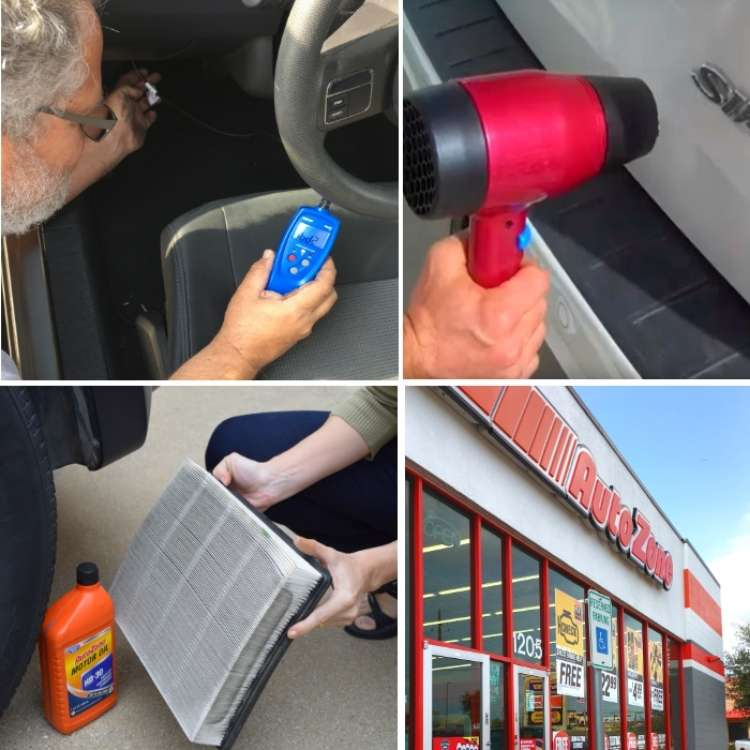 OneCrazyHouse Easy Car Repairs photo collage, man holding machine inside drivers side of car taking measurement, hand holding a car AC filter, blow dryer being used to warm up car exterior to pull up small dent, outside shot of Autozone store