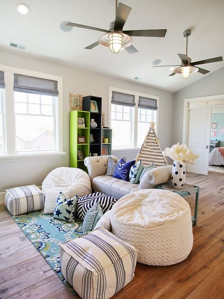 OneCrazyHouse kid friendly living room ideas living room with a soft couch surrounded by bean bag chairs that match living room decorations