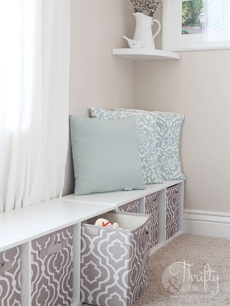 OneCrazyHouse kid friendly living room ideas window seat with cubed storage underneath