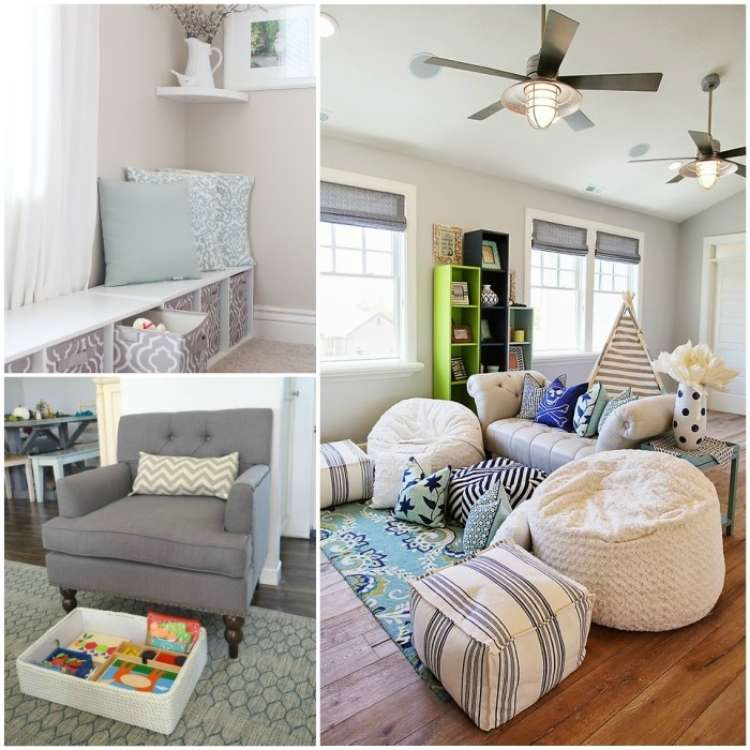 OneCrazyHouse kid friendly living room ideas collage image, window seating area with storage underneath, living room with hidden stoarage for toys under chair, living room with bean bags for seats around sofa
