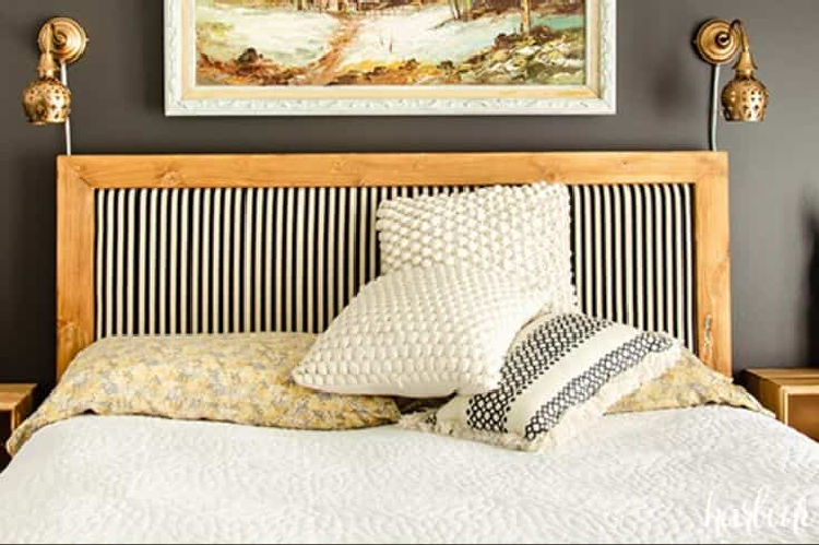 Pottery Barn Headboard DIY project from Harbour Breeze Home - headboard with pillows