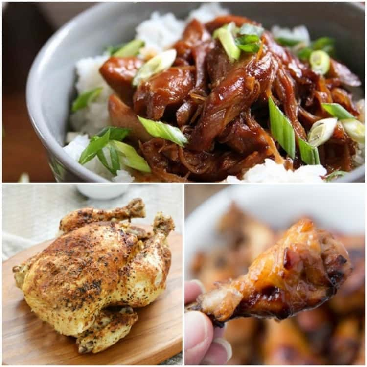 Chicken Instant Pot recipes, bowl of honey bourbon chicken, roasted faux rotisserie chicken on a wooden platter, hand holding sweet and sour chicken wing