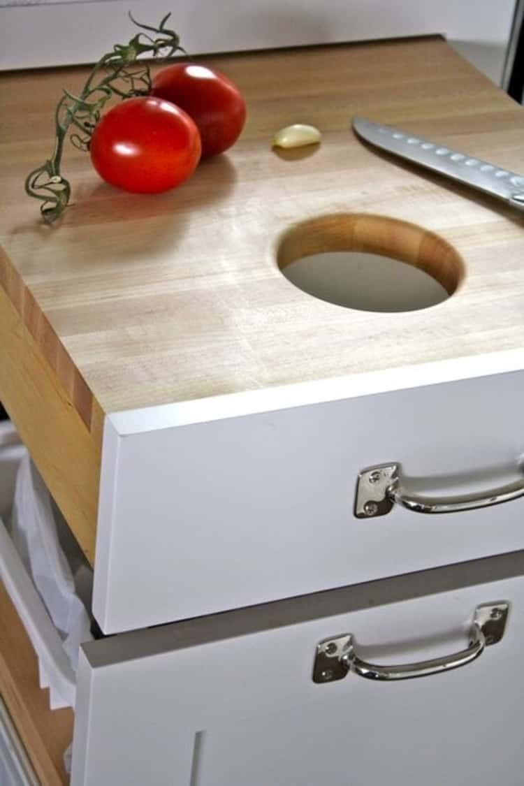 Chopping board to bin storage under sink idea