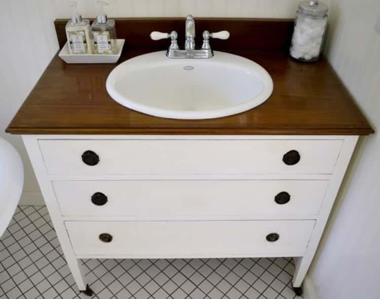 Dresser turned to vanity creating storage under sink