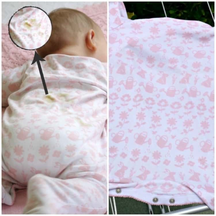2-photo collage of a baby lying on his tummy with a magnified lens showing a soiled spot on the back of his onesie and a clean onesie hung out to dry.