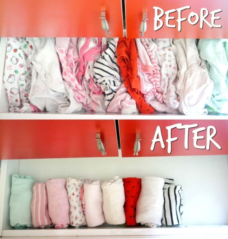 A Before & After photo collage of a dresser with baby's clothes not rolled and rolled. So much space saved with this baby hack!