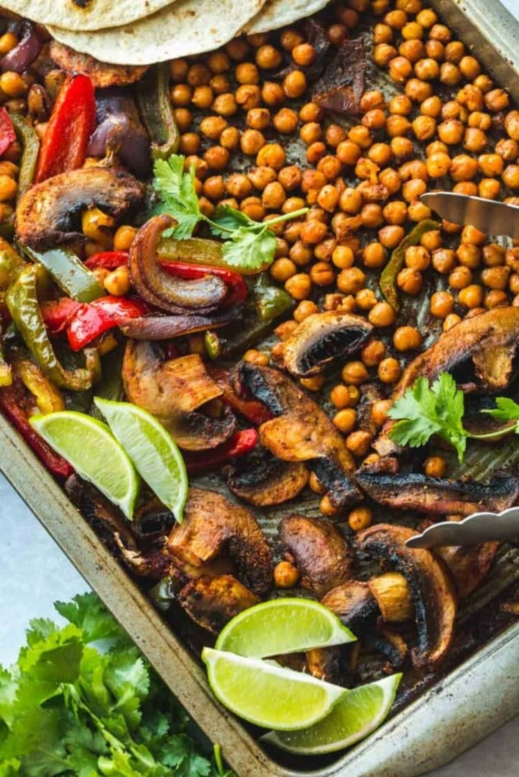 Plant-based meal - chickpea fajitas with a lemon dressing cooked on a sheet pan.