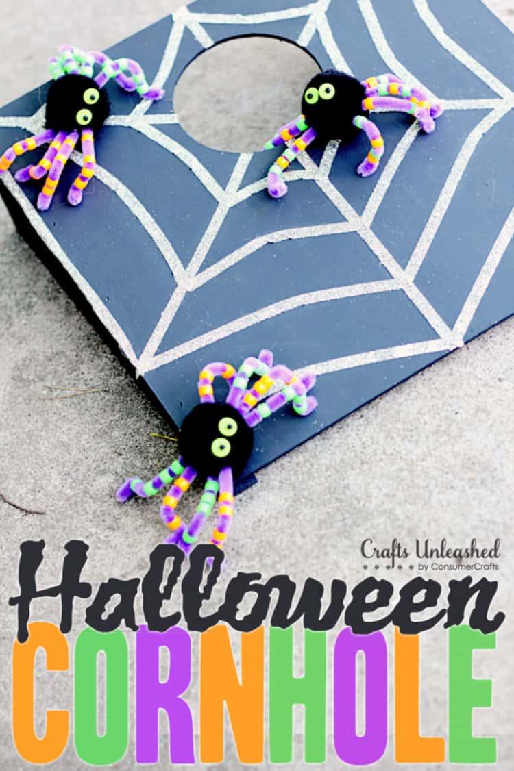 DIY Halloween Cornholegame with 3 spiders