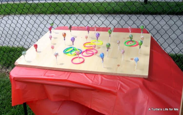 setup for the lollipop ring toss Halloween game